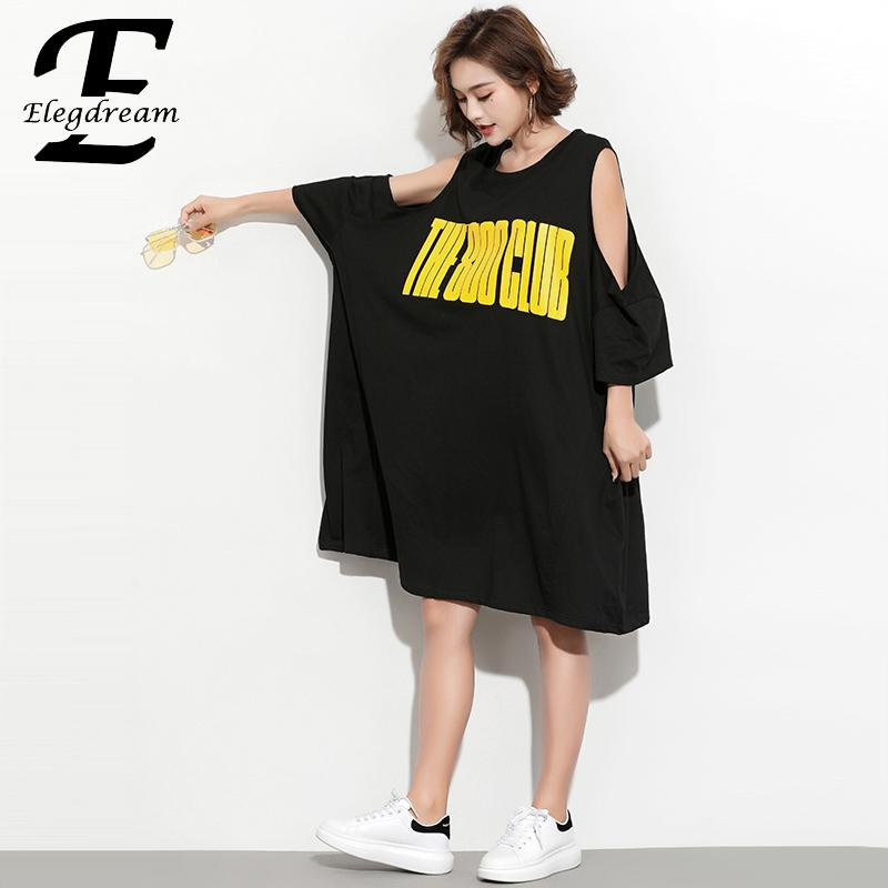US $21.12 52% OFF|Elegdream Oversized Casual Women Plus Size Dress Summer  2019 Off the Shoulder Shirt Dresses Print Long Top Tees Tunics Vestidos-in  ...