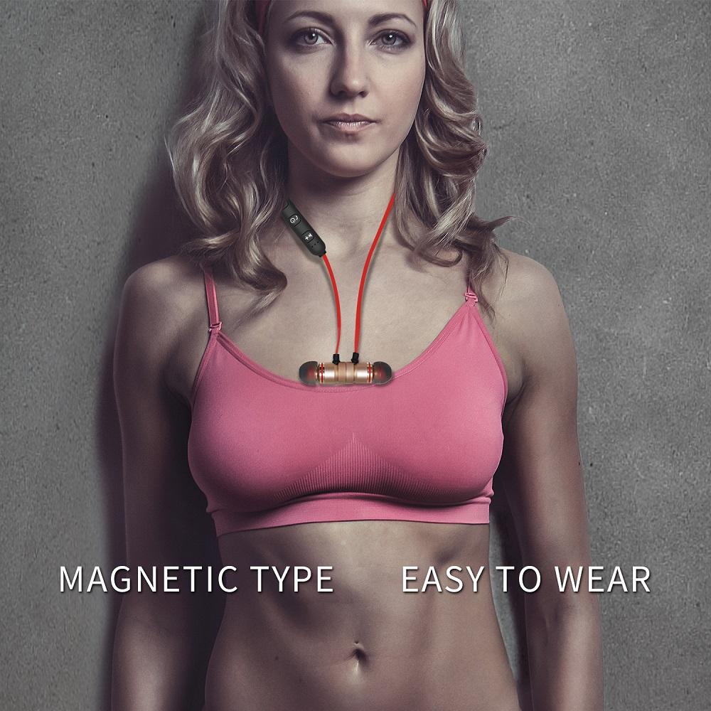 YODELI V4.1 Bluetooth Headset Metal Magnetic Wireless Stereo Earphone Headphones with Mic Sports Earphones Earbud for Sweatproof (3)
