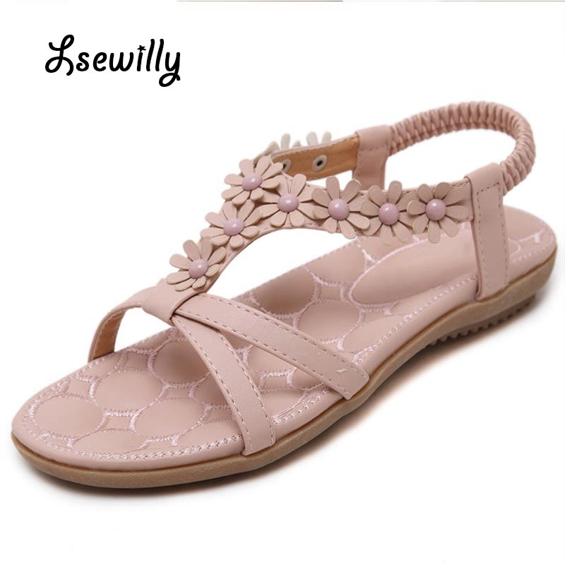 Lsewilly 2017 Summer Gladiator Sandals New Platform Flip Flops Flowers Flats Casual Slip On Shoes Flat Woman Size 35-41 SS753 phyanic casual gladiator sandals 2017 silver creepers platform summer shoes woman slip on flats casual women shoes phy4043