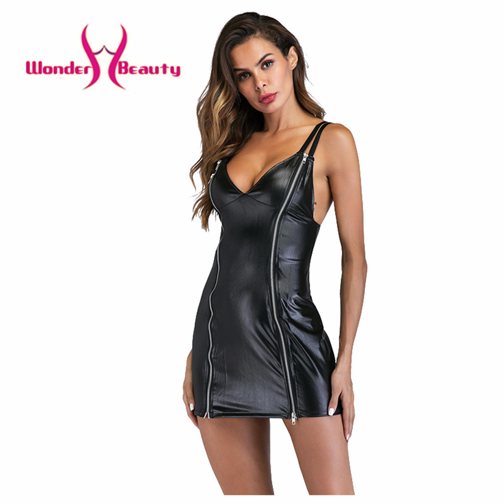 Women's Clothing Search For Flights Wonder Beauty Sexy Lace Mesh Spots Club Mini Dress Wetlook Kleid Vinyl Faux Leather Nightclub Vedtido De Festa Sexy Nightwear