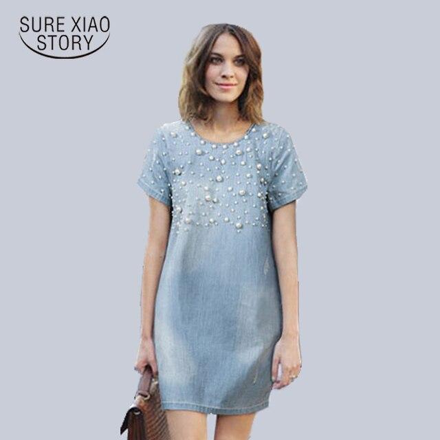 14a2e3dd5d7 New 2014 Summer Plus Size M-5XL Women Clothing Casual loose Dress Fashion  Denim Jeans Dresses Vestidos Cotton woman s gown c19-c