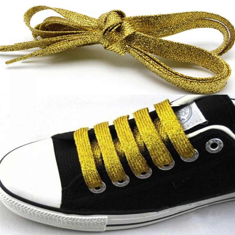 1 זוג מבריק זהב וכסף חוט ספורט סניקרס שטוח שרוכי נעלי שרוכי מיתרים 115 cm