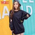 Корейский Случайные Кофты Симпатичные Школа Одежда Harajuku Женщины Moletom Длинным Рукавом Черный Прохладный Толстовки Опрятный Стиль Пальто WXC
