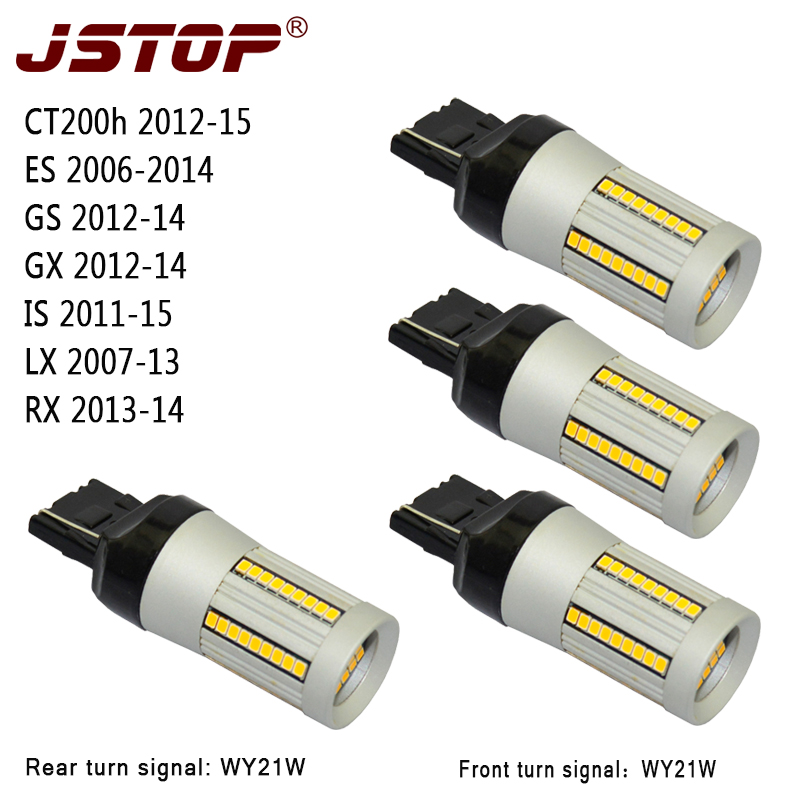 JSTOP 4pcs/set CT200h ES GS GX IS LX RX 12V led light W21W 7440 Canbus lamp No error No Hyper Flash WY21W Front Rear Turn Signal jstop 4pcs set i40 i45 sonata veloster no error no hyper flash car front rear turn signals 12v bau15s py21w led auto turn signal