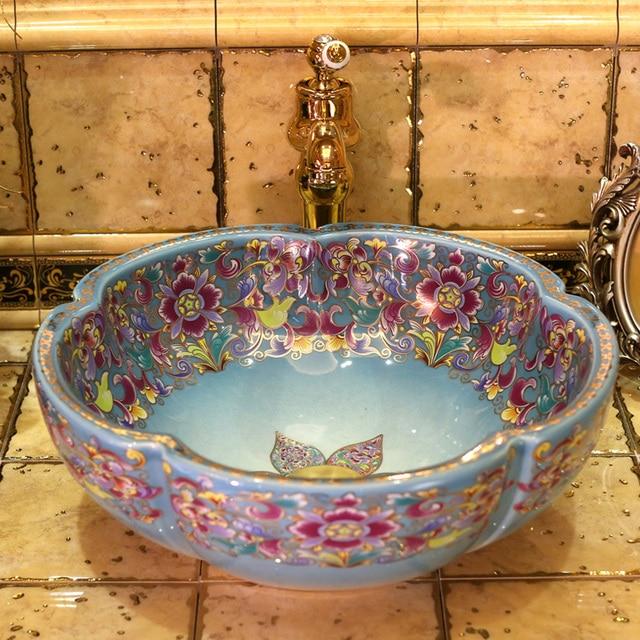 Europe Vintage Style Art Porcelain Countertop Basin Sink Handmade Ceramic Bathroom Vessel Sinks Vanities