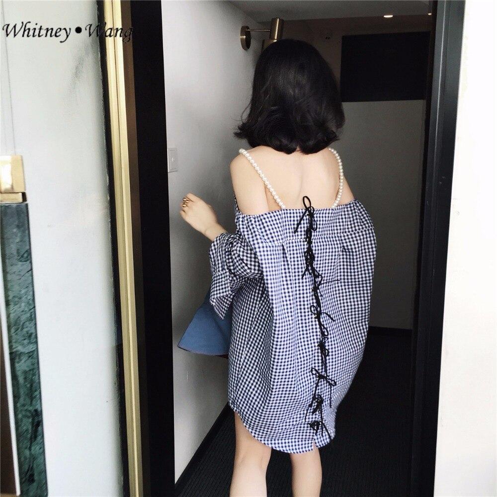 WHITNEY WANG 2018 Summer Fashion Streetwear Sexy Pearls Halter Back Lace Up Plaid Shirt Dress Women Blouse Dress