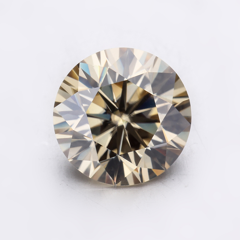 Sparkly 5mm champagne color round brilliant cut moissanites loose gems stones for jewelry making