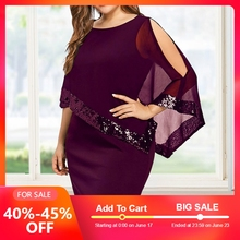Fashion Plus Size Bodycon Dress Women's O-neck Asymmetric Dresses Fitted Overlay Cocktail Party Office Dress