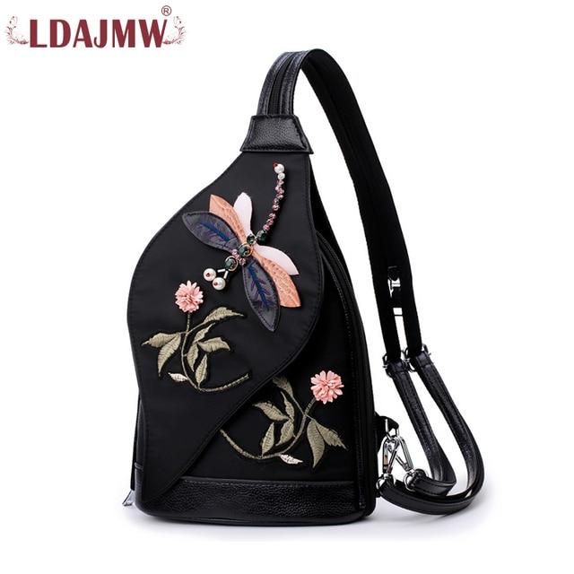 409bbf91636f LDAJMW Dragonfly 3D Fashion Ma am Both Shoulders Woman Package Nation Wind  Oblique Satchel Leisure