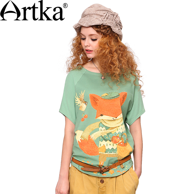 Artka Spring&Summer New Fox Colored Printed Skin-friendly Pale of Green O-Neck Cotton T-shirt TA10542X