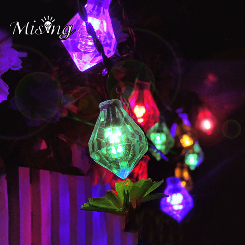 Mising 6M 30 LED Bulb Waterproof Diamond Solar Panel Light Outdoor Party decorative Solar Lamp for Garden Christma Decoration