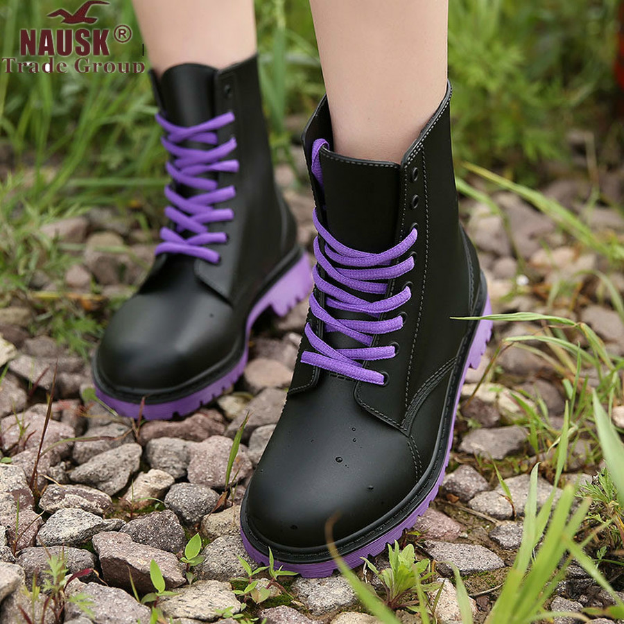 NAUSK Women's Rain Boots Waterproof Shoes Woman Water Shoes Rubber Lace Up PVC Martin Boots Sewing Solid Fashion Rainboots