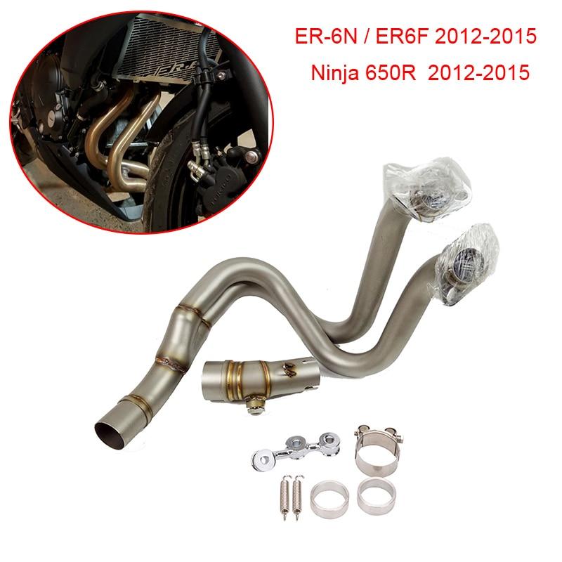 ER6F ER6N Ninja 650R 12 15 Motorcycle Exhaust Muffler Middle Pipe Escape Slip on For Kawasaki