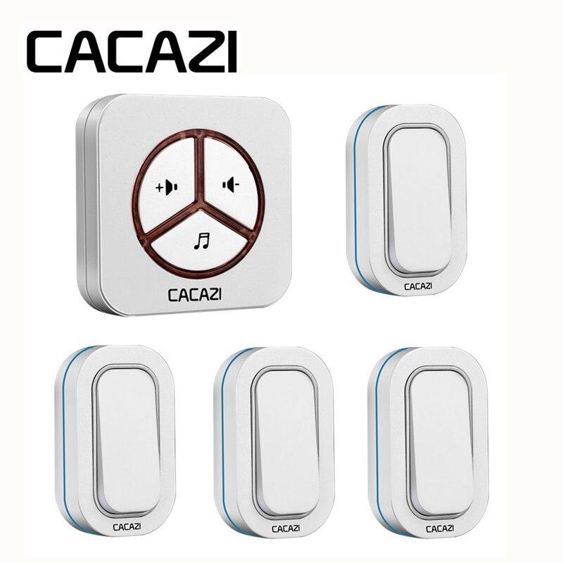 CACAZI Wireless Waterproof Doorbell Smart Sensor Battery Button Ring Bell 48 Songs Call 280M Remoto 4 Transmitter To 1 Receiver цены