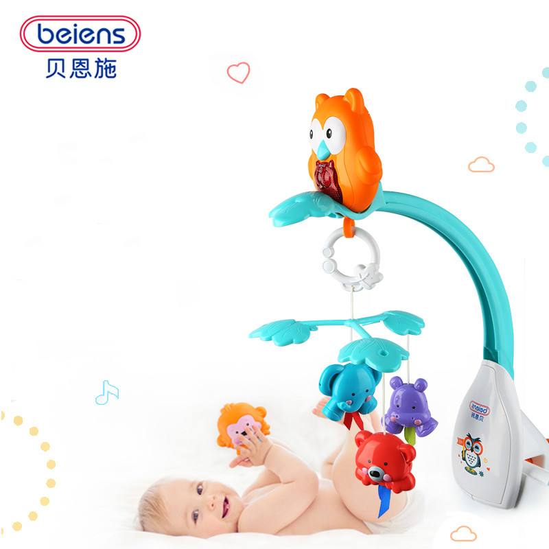 Beiens Musical Crib Mobile Bed Bell Baby Rattle Rotating Bracket Music Toys for 0-12 Months Newborn Kids Christening Gift baby crib musical mobile bell music box with holder arm daytime and evening mode baby bed hanging rattle toys newborn gift