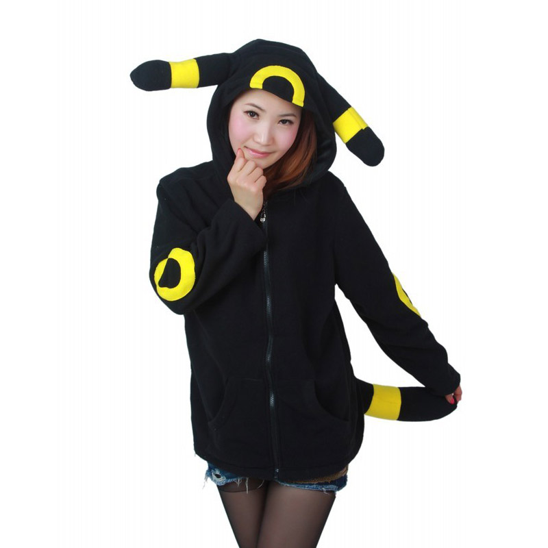 Pokemon Umbreon Hoodies Female Cartoon Sweatshirts Lovely Jacket Long Sleeves Polar Fleece