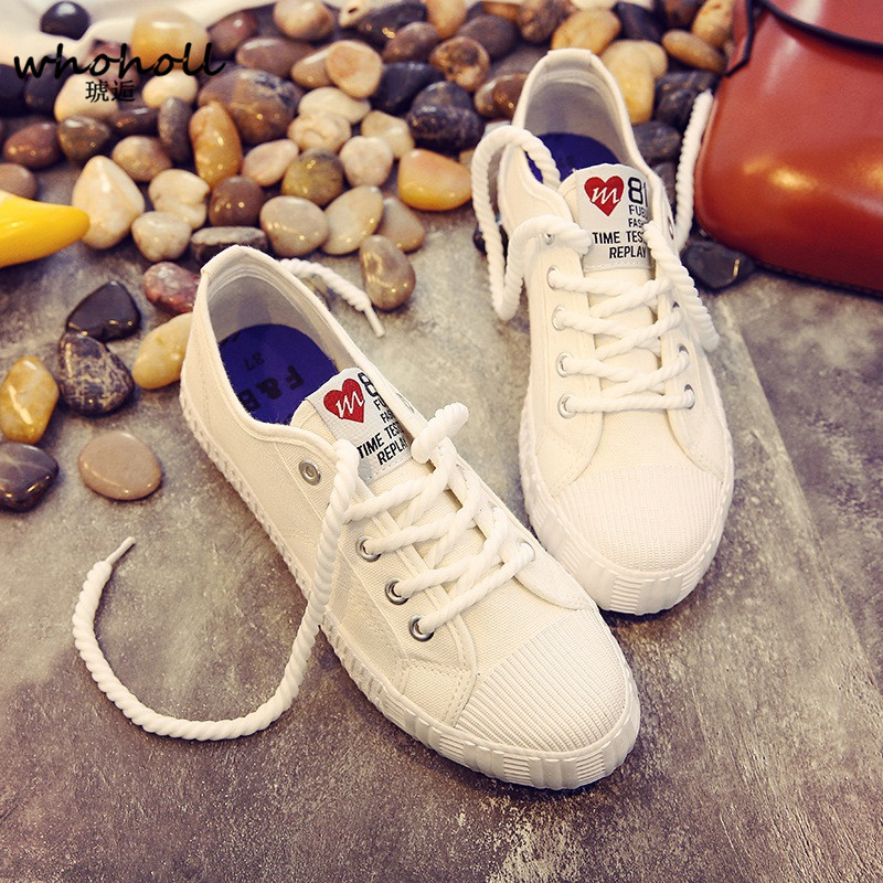 WHOHOLL 2018 Spring Women Canvas Shoes Casual Lace-Up Cute Candy Colors Ladies Flats White Yellow Green Shoes Chaussure Femme renben women canvas shoes 2017 fashion flats women casual white shoes breathable canvas lace up candy colors shoes 6e06