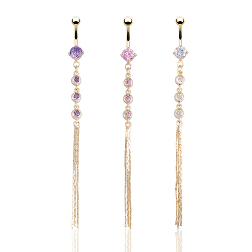New Y Body Jewelry Belly Navel Piercing Long Ring Dangle Cute On 14g