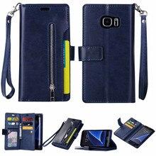 Роскошный кожаный бумажник чехол для Samsung Galaxy S7 край флип чехол на молнии ремень сумки Магнитная задняя крышка телефона чехол