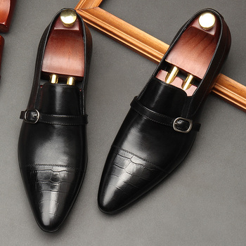 2018 High Quality Men Oxfors Black Full Grain Leather Handmade Mens Wedding Party Dress Shoes Hot Selling