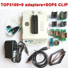 New TOP3100 USB universal programmer + 9 adapter EPROM MCU PIC AVR flash socket IC