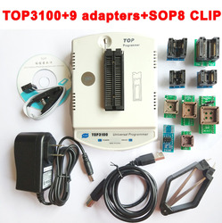 New TOP3100 USB universal programmer + 9 adapter EPROM MCU PIC AVR flash socket IC