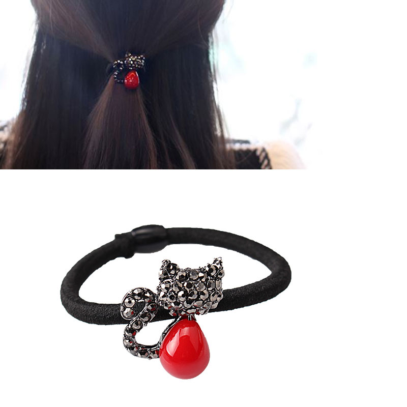 M MISM New Crystal Red Bead Cat Hair Elastic Bands Cute Hair Accessories Rhinestones Rubber Band Scrunchy for Women Girls