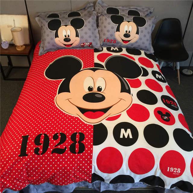 cb196b095 ميكي ماوس 3D المطبوعة طقم سرير البطاطين المفارش للفتيات السرير نسيج القطن  500TC التوأم الملكة الملك