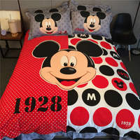 Mickey Mouse 3D Printed Bedding Set Coverlets Bedspreads for Girls Bed Cotton Woven 500TC Twin Queen King SZ Red Black Polka Dot