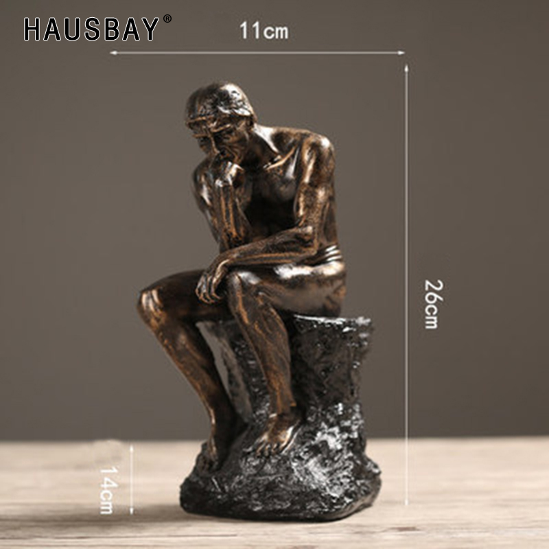 Rodin The Thinker Statue And Sculpture Fine Art Male Nude Figure European Resin Figurine Room Home Decoration Crafts Gift TS016