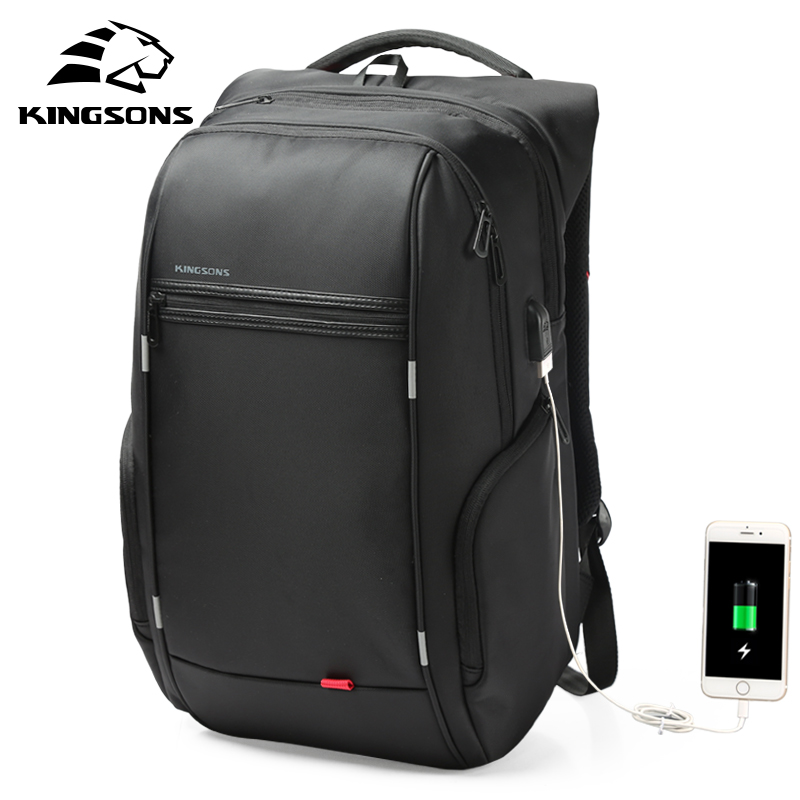 Kingsons 15''17''  Laptop Backpack External USB Charge Computer Backpacks Anti-theft Waterproof Bags for Men Women