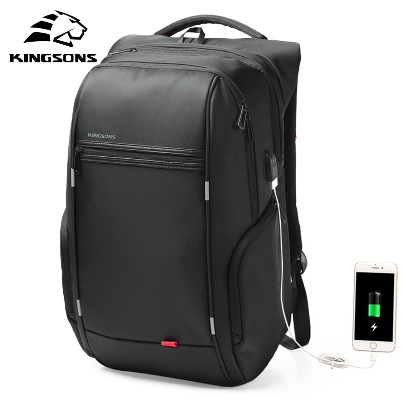 Kingsons 15 17 portátil mochila externa USB carga ordenador mochilas Anti-robo de bolsas a prueba de agua para los hombres las mujeres