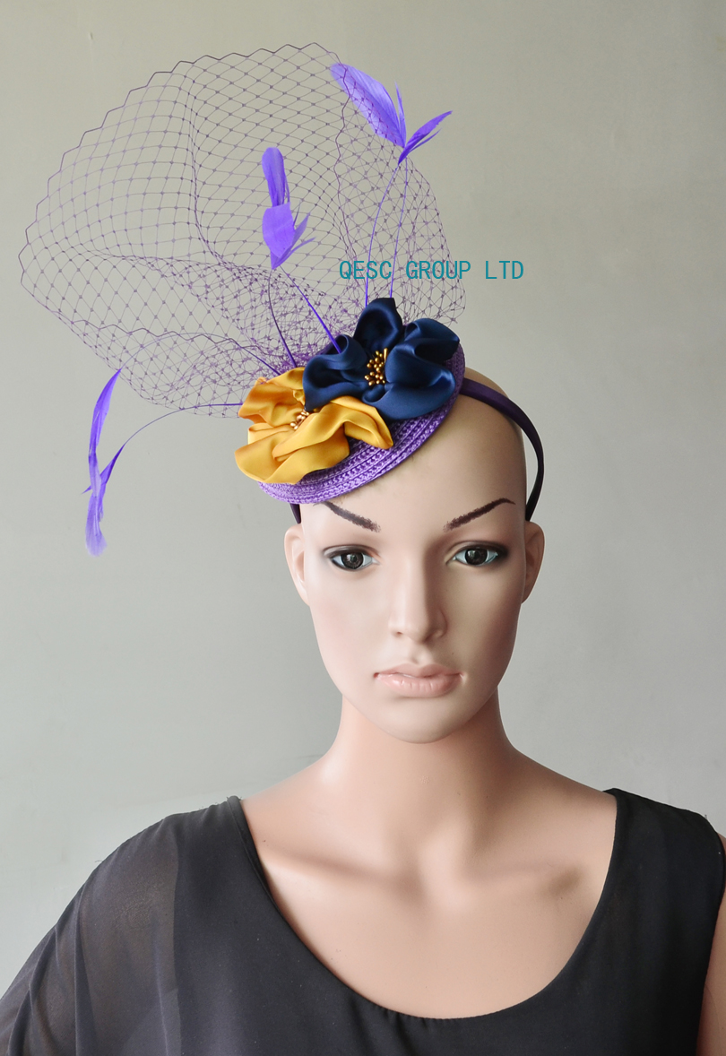 4ed5f372e7e92 NEW Wholesale Purple navy yellow veiling fascinator kentucky derby hat with  feathers handmade flower for wedding race .-in Fedoras from Apparel  Accessories ...