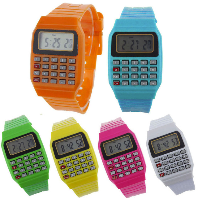 Boy and girl children Calculator watch live LED Clock Kid Silicone Multi-Purpose