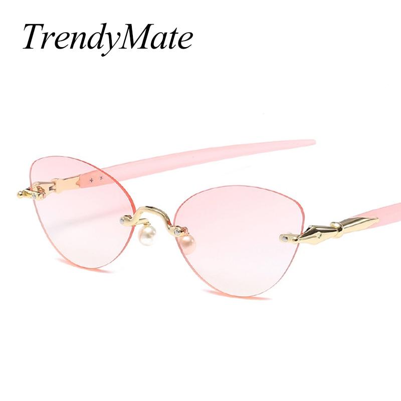143c88a824e 2018 Women Rimless Little Cat Eye Sunglasses Trending Spring Summer Styles  Ladies Tea Cute Pearl Nose Sun Glasses for Men 1310T-in Sunglasses from  Apparel ...