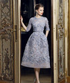 Venta caliente pura cuello redondo 7 minutos de manga de encaje apliques de perlas vestido de noche robe de soirée formal por encargo 2017
