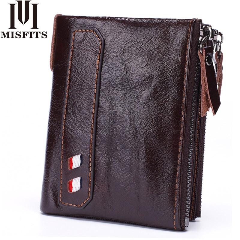 MISFITS Genuine Leather Men Wallets Short Coin Purse Vintage Cowhide Male Double Zipper Small Wallet High Quality Card Holder gubintu genuine leather men wallet small brand vintage coin purse slim cowhide leather short card holder bid186 pm49
