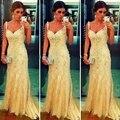 Longo Elegante Do Laço Vestidos de Noite Do Partido Da Sereia Das Senhoras Das Mulheres Sem Encosto de Cristal Frisado Formais vestidos de Noite Vestidos para o Casamento