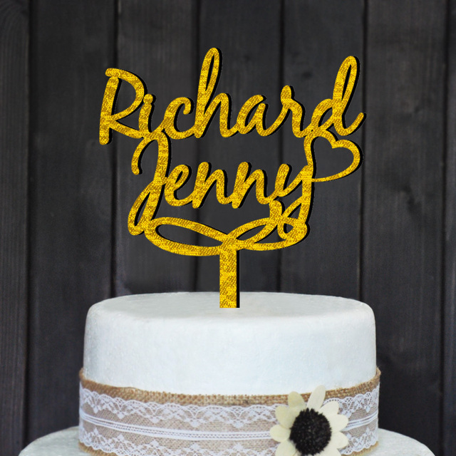 Free shipping Personalized wedding cake topper, Acrylic Custom names ...