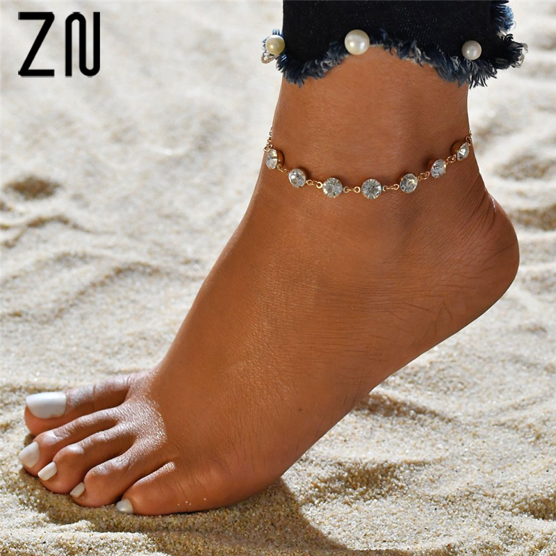 ZN Summer Simple Fashion Anklet Bracelets For Women Rhinestone Single Layer Anklet Foot Chain Gifts Foot Jewelry