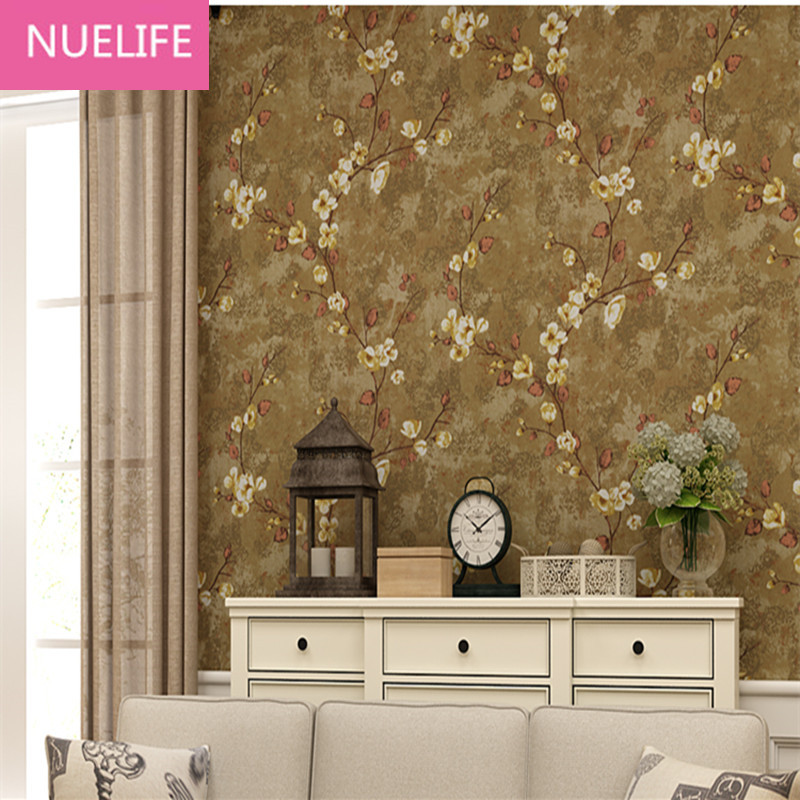 0.53x10 MeterCountryside Pastoral Plum Pattern Nonwoven Pure Wallpaper Wedding Room Bedroom Living Room Restaurant Wallpaper N12