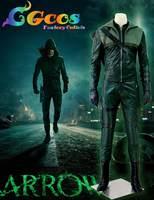 CGCOS Free Shipping Green Arrow Season 3 Oliver Queen Uniform Movie Game Carnival Halloween costume Superhero Christmas