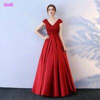 Модные бордовые длинные Вечеринка платья 2018 Новый Sexy Lady торжественное платье v образным вырезом атласная Аппликации Бисер шнуровке вечерни
