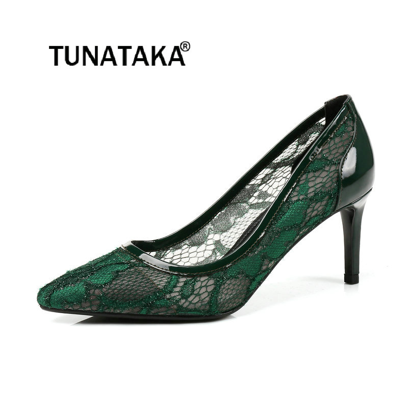 2018 The New Sexy Thin High Heel Lace Lazy Shoes Fashion Pointed Toe Comfortable Breathable Party Women Pumps Black Green Blue ms noki elegant silver new 2017 thin heel pointed toe women shoes sexy party dress fashion shoes comfortable sweet shoes hot