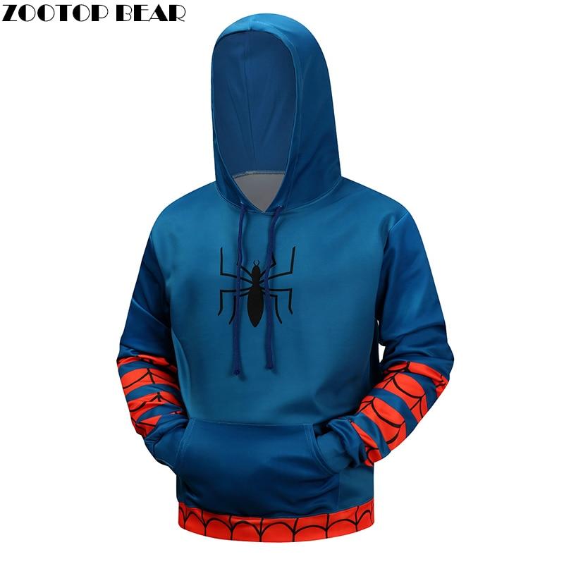 Spiderman 3D Printed Brand Hoodies Men Sweatshirts Casual Winter Superhero Pullover Boy Hoodie Hooded Hoodie Casual Coats