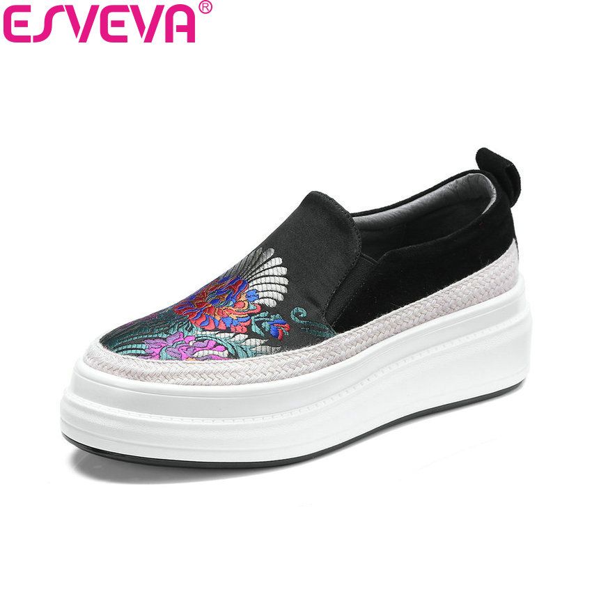 ESVEVA 2018 Women Flats Embroidery Cloth Spring and Autumn Slip on Round Toe Loafers Flats Kid Suede PU Ladies Shoes Size 34-39 цена