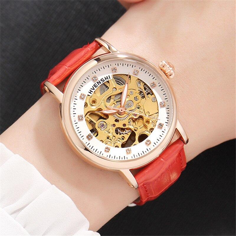 Top marque femmes automatique montre mécanique classique dames en acier squelette horloge mode femmes Bracelet montre dames montres-in Bracelets de montres femme from Montres    2