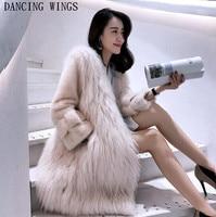 Long 85CM Genuine White Raccoon Fur Coat With Full Pelt Mink Fur Sleeve Winter Thick Fur Jacket Women