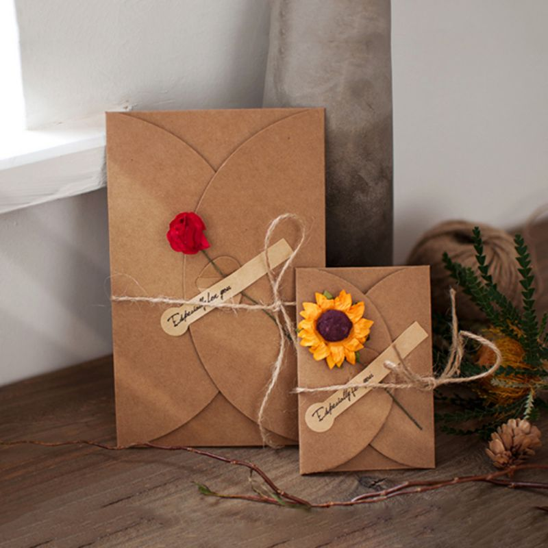 Us 1 17 Retro Kraft Paper Artificial Flower Greeting Card Diy Wish Invitation Envelope For Wedding Invitations Flower Envelope In Cards