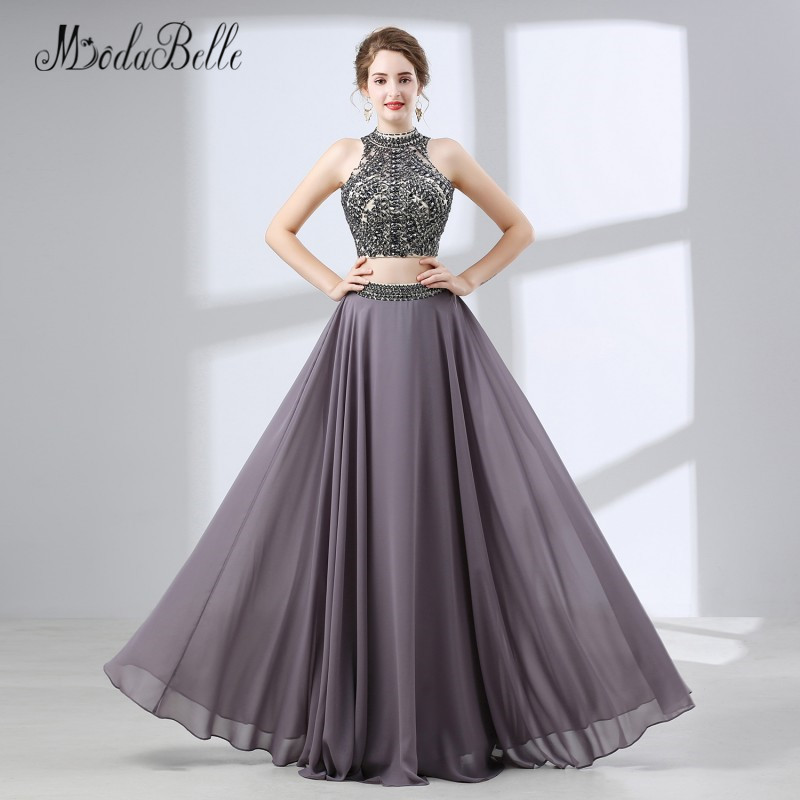 modabelle 2018 Prom Dress Two Pieces Long Beaded Sequin Top Chiffon ...